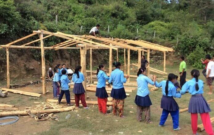 Building school at Earthquake hit area of Dolakha district in Nepal